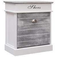 vidaXL Shoe Cabinet Grey 50x28x58 cm Paulownia Wood