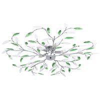 vidaXL Ceiling Lamp with Acrylic Crystal Leaf Arms for 5 E14 Bulbs Green