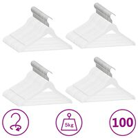vidaXL 100 pcs Clothes Hanger Set Non-slip White Hardwood