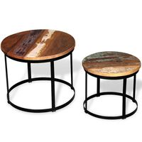 vidaXL Two Piece Coffee Table Set Solid Reclaimed Wood Round 40cm/50cm