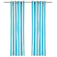 vidaXL Curtains with Metal Rings 2 pcs Fabric 140x225 cm Blue Stripe