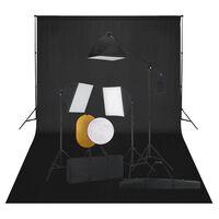 vidaXL Photo Studio Kit with Softbox Lights. Backdrop and Reflector
