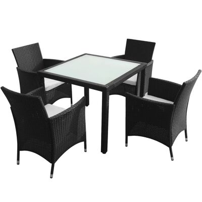 vidaXL 5 Piece Outdoor Dining Set with Cushions Poly Rattan Black