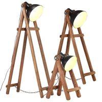 vidaXL Floor Lamps 3 pcs Black E27 Solid Mango Wood