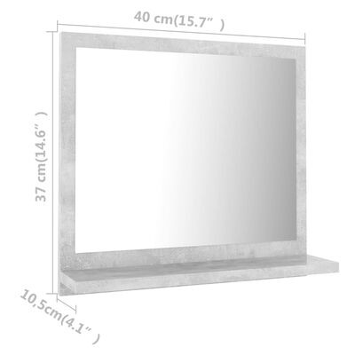 vidaXL Bathroom Mirror Concrete Grey 40x10.5x37 cm Chipboard