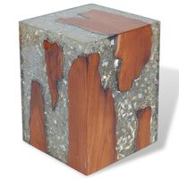 vidaXL Stool Solid Teak Wood and Resin