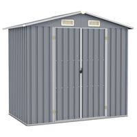 vidaXL Garden Shed Grey 205x129x183 cm Galvanised Steel