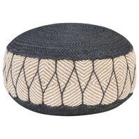 vidaXL Woven/Knitted Pouffe Jute Cotton 50x30 cm Blue