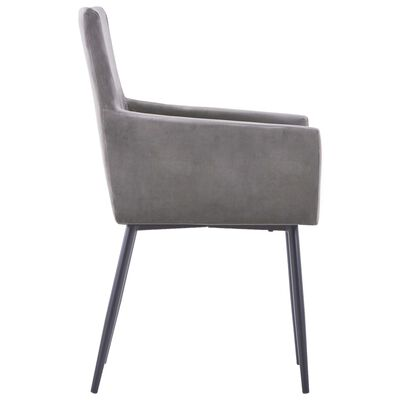 vidaXL Dining Chairs with Armrests 6 pcs Grey Velvet