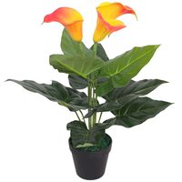 vidaXL Artificial Calla Lily Plant with Pot 45 cm Red and Yellow