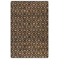 vidaXL Hand-Woven Jute Area Rug Fabric 120x180 cm Natural and Black