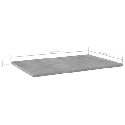 vidaXL Bookshelf Boards 4 pcs Concrete Grey 60x40x1.5 cm Chipboard