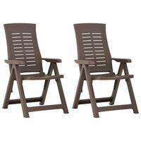 vidaXL Garden Reclining Chairs 2 pcs Plastic Mocha