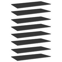 vidaXL Bookshelf Boards 8 pcs High Gloss Black 80x20x1.5 cm Chipboard
