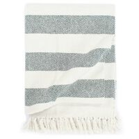 vidaXL Throw Cotton Stripe 160x210 cm Dark Green
