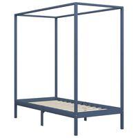 vidaXL Canopy Bed Frame Grey Solid Pine Wood 90x200 cm