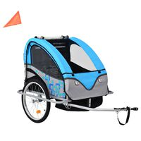 vidaXL 2-in-1 Kids' Bicycle Trailer & Stroller Light Blue and Grey