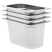 vidaXL Gastronorm Containers 4 pcs GN 1/4 150 mm Stainless Steel