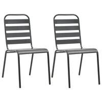 vidaXL Stackable Outdoor Chairs 2 pcs Steel Grey