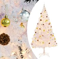 vidaXL Faux Christmas Tree Decorated with Baubles and LEDs 210cm White