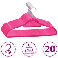 vidaXL 20 pcs Clothes Hanger Set Anti-slip Pink Velvet