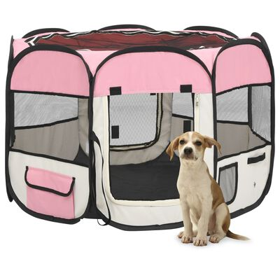 vidaXL Foldable Dog Playpen with Carrying Bag Pink 90x90x58 cm
