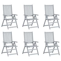 vidaXL Garden Reclining Chairs 6 pcs Grey Solid Acacia Wood
