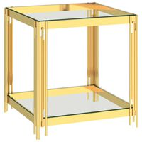 vidaXL Coffee Table Gold 55x55x55 cm Stainless Steel and Glass