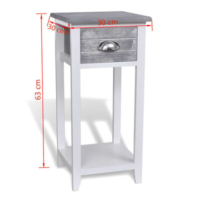 vidaXL Nightstand with 1 Drawer Grey and White