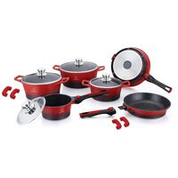 Herenthal - 10 Piece Set Of Pans With Removable Handles - Red/black