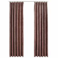 vidaXL Blackout Curtains 2pcs with Hooks Velvet Antique Pink 140x245cm