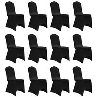 vidaXL Chair Cover Stretch Black 12 pcs