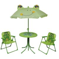 vidaXL 3 Piece Kids' Garden Bistro Set with Parasol Green