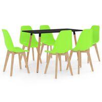 vidaXL 7 Piece Dining Set Green