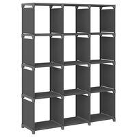 vidaXL 12-Cube Display Shelf Grey 103x30x141 cm Fabric