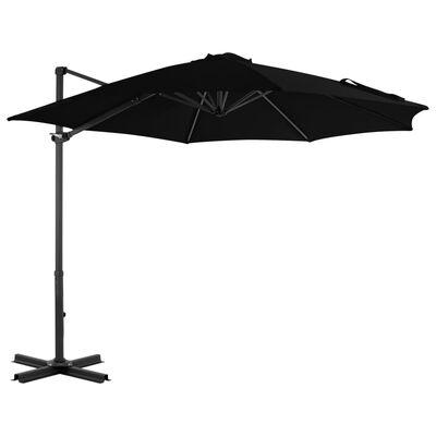vidaXL Cantilever Umbrella with Aluminium Pole Black 300 cm