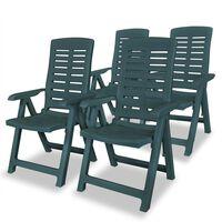 vidaXL Reclining Garden Chairs 4 pcs Plastic Green
