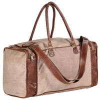 vidaXL Weekend Bag Brown 54x23x52 cm Canvas and Real Leather