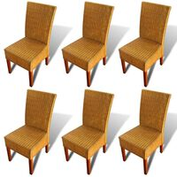 vidaXL Dining Chairs 6 pcs Brown Natural Rattan