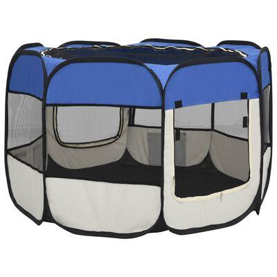vidaXL Foldable Dog Playpen with Carrying Bag Blue 90x90x58 cm