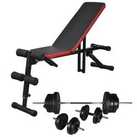 vidaXL Adjustable Sit-up Bench with Barbell and Dumbbell Set 60.5 kg