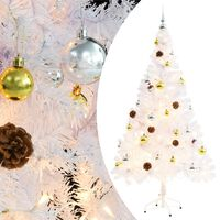vidaXL Faux Christmas Tree Decorated with Baubles and LEDs 150cm White