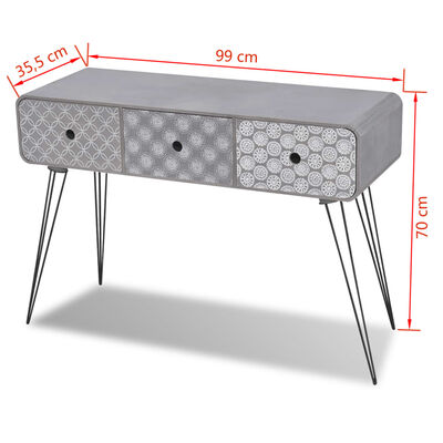 vidaXL Console Table with 3 Drawers Grey