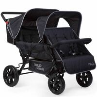 CHILDHOME Two-by-Two Quadruple Stroller Black CWTB2