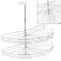 vidaXL 2-Tier Kitchen Wire Basket Silver 180 Degree 85x44x80 cm