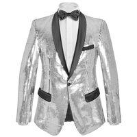 vidaXL Men's Sequin Dinner Jacket Tuxedo Blazer Silver Size 52