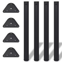 4 Height Adjustable Table Legs Black 710 mm