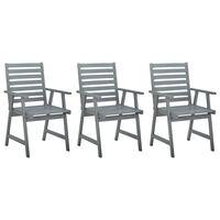vidaXL Outdoor Dining Chairs 3 pcs Grey Solid Acacia Wood