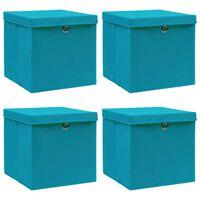 vidaXL Storage Boxes with Lids 4s pcs Baby Blue 32x32x32 cm Fabric
