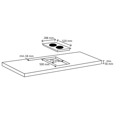 vidaXL Built-in Flexizone Induction Hob with Downdraft Table 78 cm